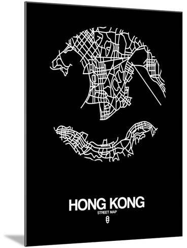 Hong Kong Street Map Black-NaxArt-Mounted Art Print