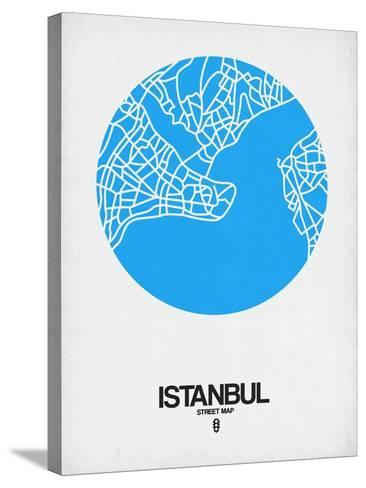 Istanbul Street Map Blue-NaxArt-Stretched Canvas Print