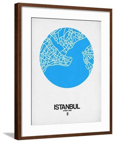 Istanbul Street Map Blue-NaxArt-Framed Art Print