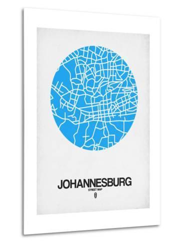 Johannesburg Street Map Blue-NaxArt-Metal Print