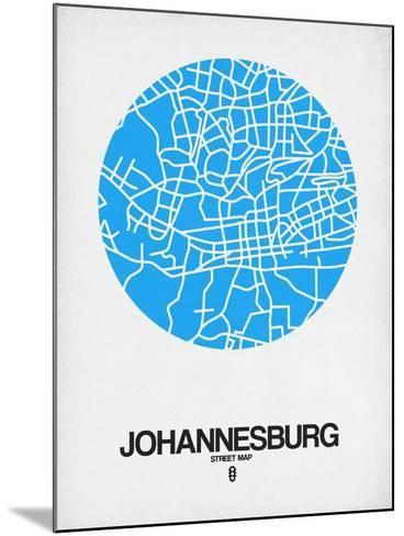 Johannesburg Street Map Blue-NaxArt-Mounted Art Print