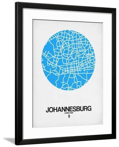 Johannesburg Street Map Blue-NaxArt-Framed Art Print