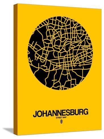 Johannesburg Street Map Yellow-NaxArt-Stretched Canvas Print