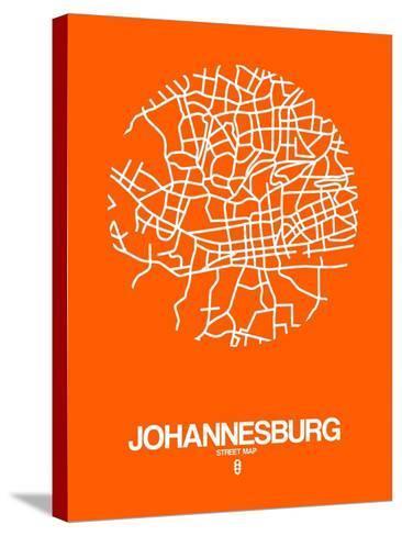 Johannesburg Street Map Orange-NaxArt-Stretched Canvas Print