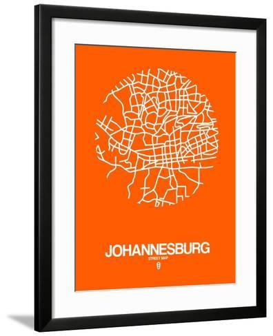 Johannesburg Street Map Orange-NaxArt-Framed Art Print
