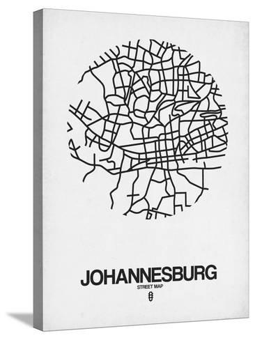 Johannesburg Street Map White-NaxArt-Stretched Canvas Print