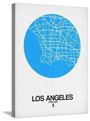 Los Angeles Street Map Blue-NaxArt-Stretched Canvas Print