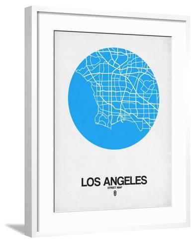 Los Angeles Street Map Blue-NaxArt-Framed Art Print