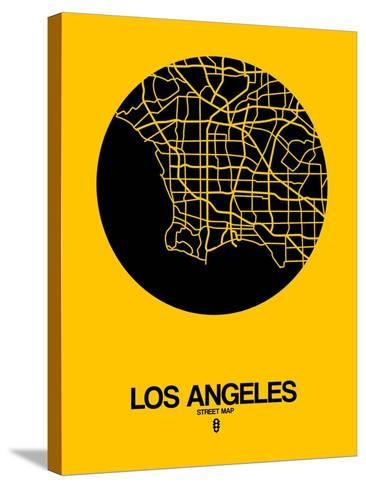 Los Angeles Street Map Yellow-NaxArt-Stretched Canvas Print