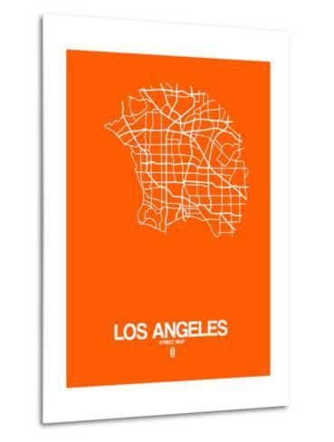 Los Angeles Street Map Orange-NaxArt-Metal Print