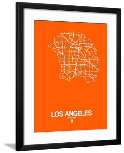 Los Angeles Street Map Orange-NaxArt-Framed Art Print