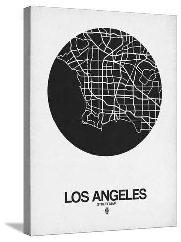 Los Angeles Street Map Black on White-NaxArt-Stretched Canvas Print