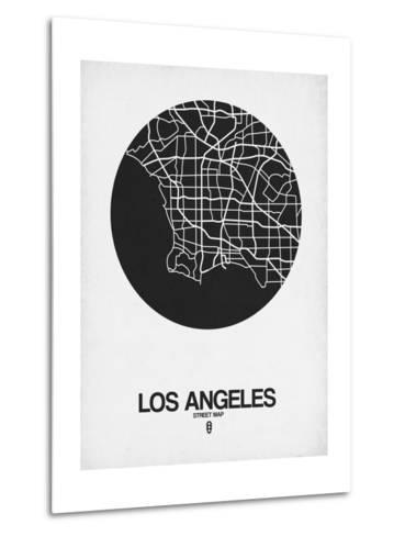 Los Angeles Street Map Black on White-NaxArt-Metal Print
