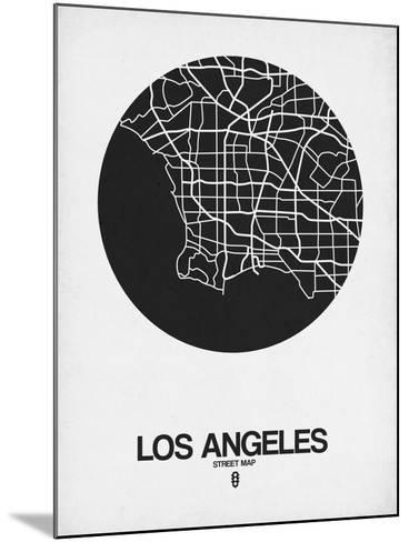 Los Angeles Street Map Black on White-NaxArt-Mounted Art Print