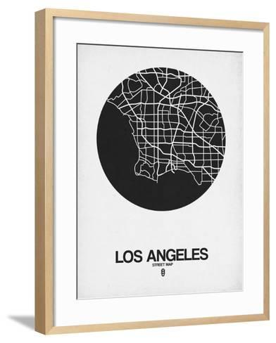 Los Angeles Street Map Black on White-NaxArt-Framed Art Print