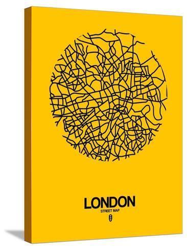 London Street Map Yellow-NaxArt-Stretched Canvas Print