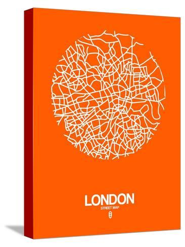 London Street Map Orange-NaxArt-Stretched Canvas Print