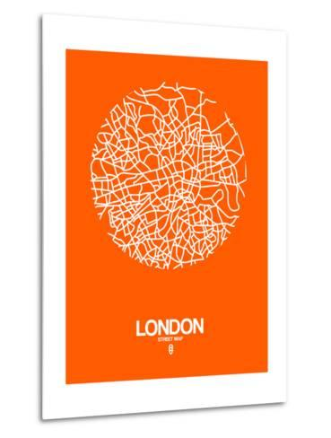 London Street Map Orange-NaxArt-Metal Print