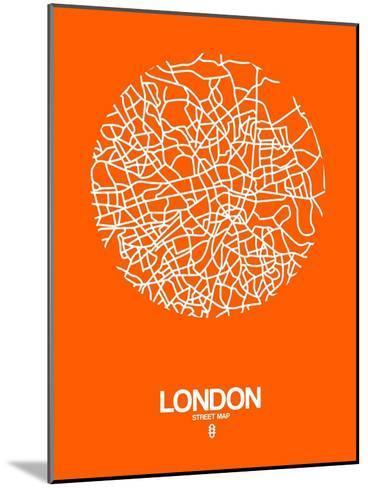 London Street Map Orange-NaxArt-Mounted Art Print