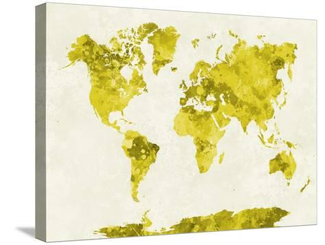 World Map in Watercolor Yellow-paulrommer-Stretched Canvas Print