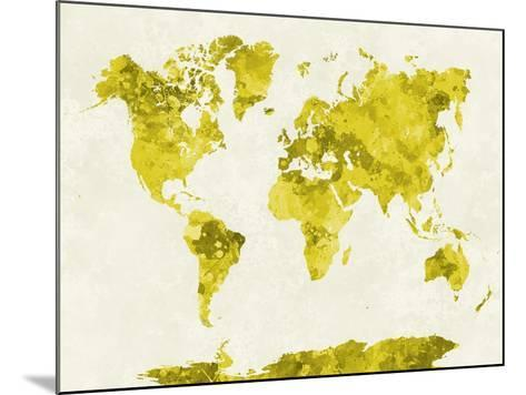 World Map in Watercolor Yellow-paulrommer-Mounted Art Print