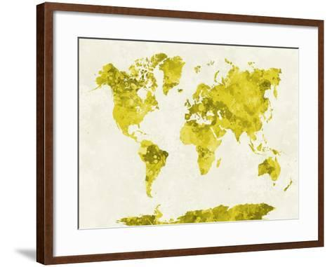 World Map in Watercolor Yellow-paulrommer-Framed Art Print