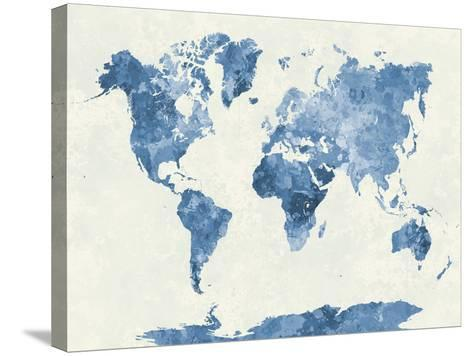 World Map in Watercolor Blue-paulrommer-Stretched Canvas Print