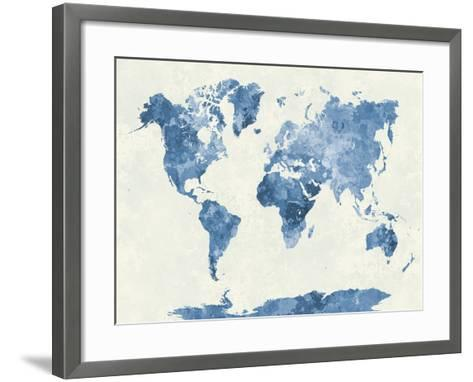World Map in Watercolor Blue-paulrommer-Framed Art Print