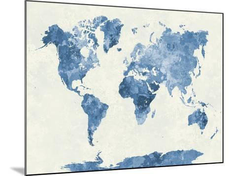 World Map in Watercolor Blue-paulrommer-Mounted Giclee Print