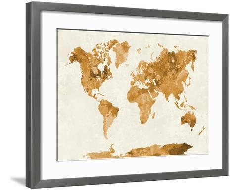World Map in Watercolor Orange-paulrommer-Framed Art Print