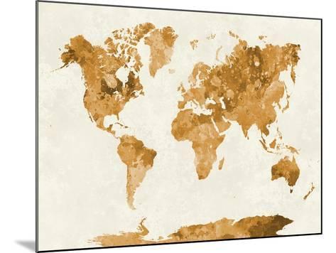 World Map in Watercolor Orange-paulrommer-Mounted Art Print