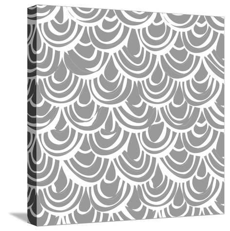 Monochrome Scallop Scales-Sharon Turner-Stretched Canvas Print