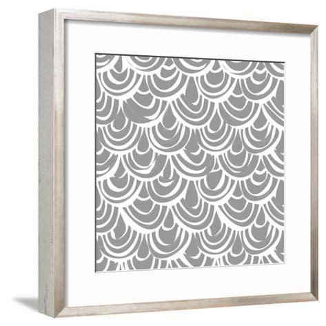 Monochrome Scallop Scales-Sharon Turner-Framed Art Print