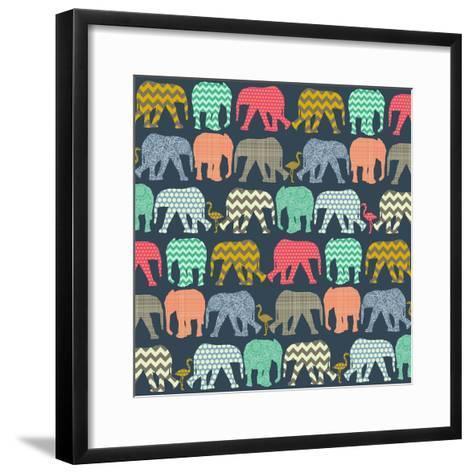 Baby Elephants and Flamingos (Variant 1)-Sharon Turner-Framed Art Print