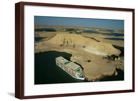 A Cruise Ship on Lake Nasser Near the Great Temple of Abu Simbel-Marcello Bertinetti-Framed Art Print