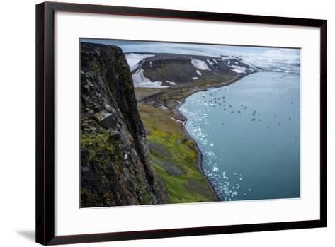 Little Auks and Glaucous Gulls from the Summit of Rubini Rock on Hooker Island-Andy Mann-Framed Art Print