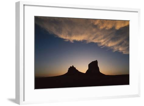 The Setting Sun Forms a Silhouette Courthouse and Jail Rocks-Michael Forsberg-Framed Art Print