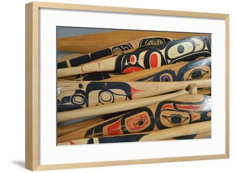 Hand-Painted Haida Canoe Paddles Stacked in the Bottom of a Small Boat-Jonathan Kingston-Framed Art Print