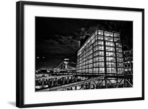 Dumbo and the Manhattan Bridge Seen from the Brooklyn Bridge-Kike Calvo-Framed Art Print