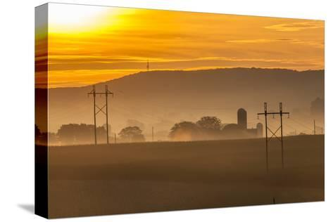 Sunrise and Fog over a Farm Along Pennsylvania Route 23 East of Lancaster, Pennsylvania-Richard Nowitz-Stretched Canvas Print