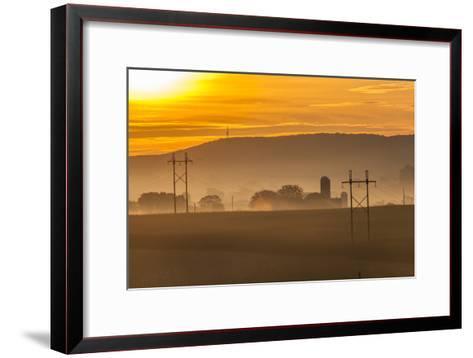 Sunrise and Fog over a Farm Along Pennsylvania Route 23 East of Lancaster, Pennsylvania-Richard Nowitz-Framed Art Print