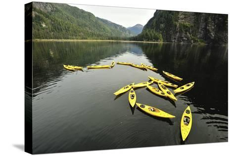Tethered Yellow Sea Kayaks Floating in Rudyerd Bay-Jonathan Kingston-Stretched Canvas Print