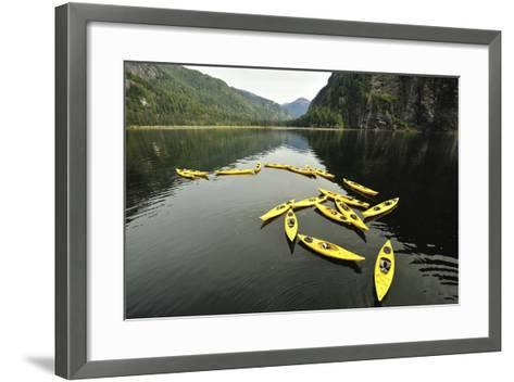 Tethered Yellow Sea Kayaks Floating in Rudyerd Bay-Jonathan Kingston-Framed Art Print