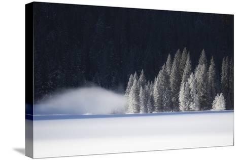 A Low-Lying Mist Hovers over a Snowy Landscape-Robbie George-Stretched Canvas Print