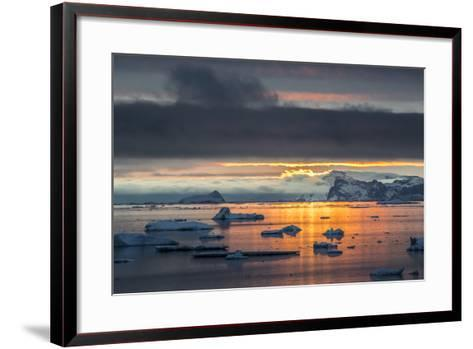 Sunset Off Andersson Island, with Coastal Mountains and Ice Floes-Kent Kobersteen-Framed Art Print