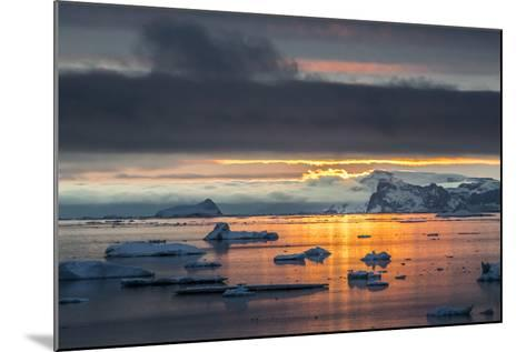 Sunset Off Andersson Island, with Coastal Mountains and Ice Floes-Kent Kobersteen-Mounted Photographic Print