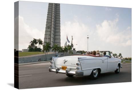 Classic American Car by Jose Marti Memorial, Plaza De La Revolucion, Revolution Square, Havana-Eric Kruszewski-Stretched Canvas Print