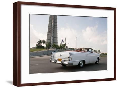 Classic American Car by Jose Marti Memorial, Plaza De La Revolucion, Revolution Square, Havana-Eric Kruszewski-Framed Art Print