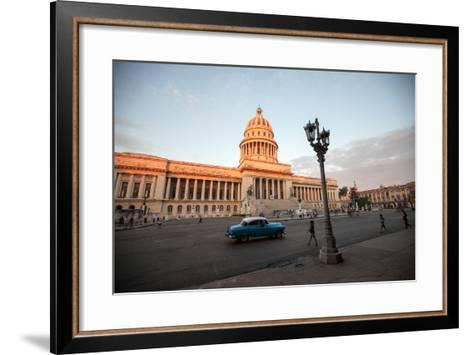 People Walk the Streets and a Classic American Car Drives Past the El Capitolio Building, Havana-Eric Kruszewski-Framed Art Print
