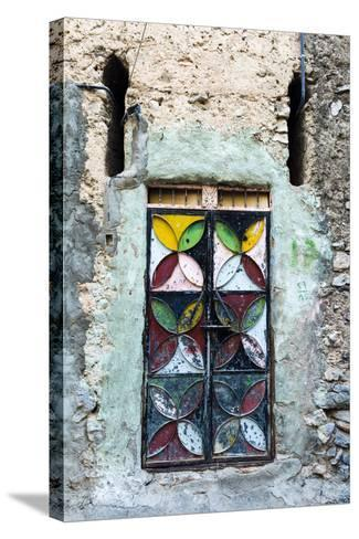 A Painted and Decorated Steel Door in an Ancient Mud Brick Village-Jason Edwards-Stretched Canvas Print